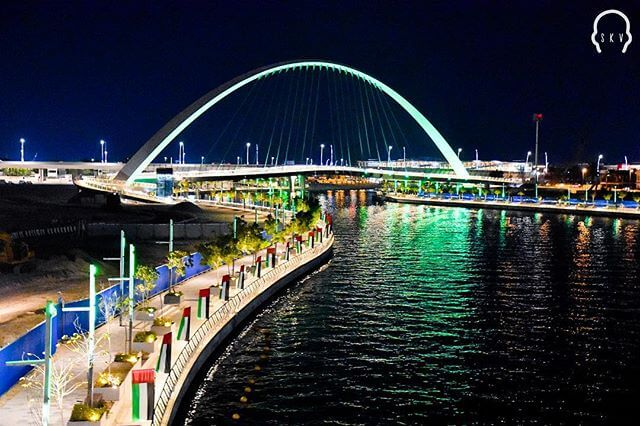 Night view of Dubai Water Canal.